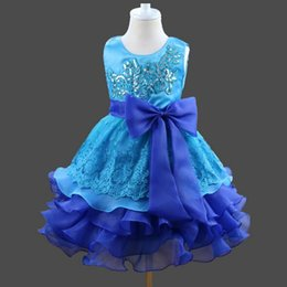 Wholesale Layered Evening Dress Knee Length - 2017 New Layered Gown Flower Girls Dresses Bow Big Blue Baby Evening Dress Party Gown Inflatable Birthday Wedding Party Dress