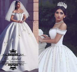 cathedral train wedding dress luxurious with best reviews - Luxurious Ball Gown Long Cathedral Train Wedding Dresses Custom Made Gorgeous Crystal Bridal Gowns With Cute Bow Muslim Arabic Wedding Dress