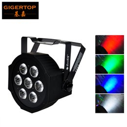 Wholesale Big Led Effect Light - TIPTOP 7x12W RGBW Slim Led Par Light Super Big Lens High Brightness Power in Cable 3Pin DMX IN OUT Socket Smooth Washer Effect