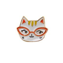 Wholesale Pcs Garment Accessories - Lot 12 Pcs Decoration Garment Accessories Animal White Enamel Lovely Glasses Cat Brooch Pin Jewelry