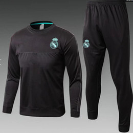 Wholesale Football Training Clothing - AAA+1718 top Thailand soccer tracksuit Real Madrid long sleeve 2018 Training suit pants football training clothes sports wear mens Sweater