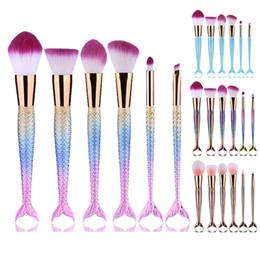 Wholesale 3d Nylon - Mermaid Makeup Brushes 6PCS SET Makeup Brushes Beauty 3D Rainbow Colorful Gold Blue Cosmetics Brushes Sets for Eyes Face Foundation 2805111