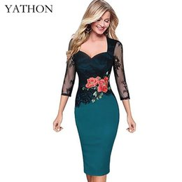 Wholesale Embroidered Night Dresses - Wholesale- Plus size Embroidered Lace Dresses Women Floral Pattern Hollow Out Business Work Office Casual Party Pencil Bodycon Dress YATHON