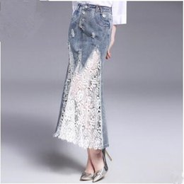 Wholesale Fishtail Skirts - Fashion elegant Demin lace Panelled skirts autumn Party sexy hollow out Fishtail Mermaid prom long skirts women evening Maxi Cocktail skirt