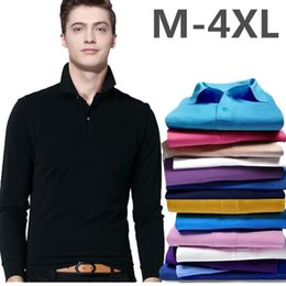Wholesale White Shirts Small Collar - Men's clothing brand Polo Shirt Small Horse Embroidery Long Sleeves Collar Solid Cotton Camisa Polos Homme Clothing Chemmise Famous Hombre