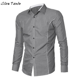 Wholesale Mens Designer Shirts Wholesale - Wholesale- Men Shirt Slim Line Long Sleeve Brand Mens Clothing Designer 3D Print Social Business Contrast Color Turn-down Collar #2415