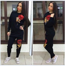 Wholesale Tracksuit Women Flowers - Black Gray Cotton Women Tracksuits Leisure 2017 New Arrivals Embroidery Rose Flower Sequins Long Sleeve T Shirt Sets Casual Sport Clothing