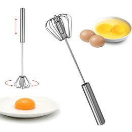 Wholesale Metal Whips - Stainless Steel Whisk Turbo Hand Whisk Whips Mixes Cream Eggs Salad Dressings kitchen home Hand Push Mixer wn040