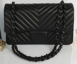 Wholesale Animal Shaped Straws - 94305 black Sheepskin black chain 1112 V Shaped Double Flap Chain Bag Women Tote Shoulder Cross body Handbag Black Gold Hardware