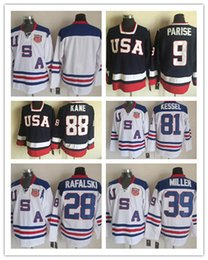 Wholesale Usa Olympic Hockey - 2010 Team USA Ice Hockey Jersey OLYMPIC #9 Zach Parise #88 Patrick Kane #81 Phil Kessel #28 Brian Rafalski#39 Ryan Miller #15 Jamie Langenbr
