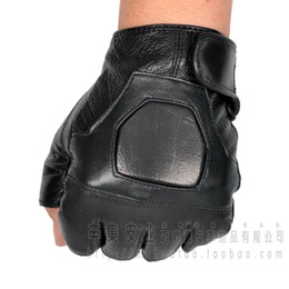 Wholesale Genuine Leather Gloves Wholesale - Wholesale- 2015 men's Semi-finger breathable genuine leather gloves male sheepskin leather outside sports gloves tactical gloves