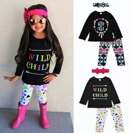 Wholesale Wholesale Infant Cotton Headbands - Infant Boutique Autumn Baby Girls Three-pieces Letter Fashion T-shirt Tops+Pants+Headband Sets Cotton Long Sleeve Pajamas Outfits