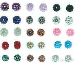 Wholesale Shamballa Findings - 100 pcs lot 10mm 12mm White mixed multicolor Chunky Epoxy Resin Rhinestones Ball Beads shamballa Basketball wive Bead bracelet Finding f2424