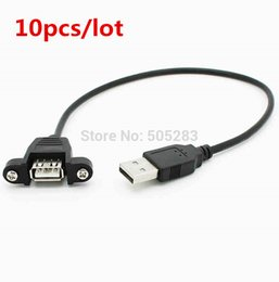 Wholesale Motherboard Usb Cables - Wholesale- 10pcs USB Male to Famale Cable USB Extension Cable Computer Motherboard Panel Mount USB Tailgate Cable With Screws 30cm HY295*10