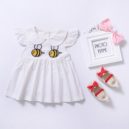 Wholesale Duck Dress Baby Girl - 2017 Summer New Baby Girl Dress Bee Duck Mushroom Animals Print Cotton Dress baby Girls Dresses Cute Bee Printed Doll Dress