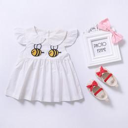 Wholesale Mushroom Blend - 2017 Summer New Baby Girl Dress Bee Duck Mushroom Animals Print Cotton Dress baby Girls Dresses Cute Bee Printed Doll Dress