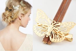 Wholesale Mexican Hair Women - European and American women fashion hollow golden butterfly hairpin hair edge clip Quality assurance factory direct sale