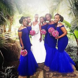 Wholesale Garden Wedding Dresses For Bridesmaid - 2017 Royal Blue Long Mermaid Bridesmaid Dresses for Wedding Guest Party Black Girls Cheap Garden Off Shoulder Tulle Maid of Honor Dress