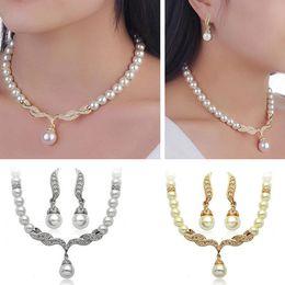 Canada Ensemble de bijoux de mariée cristal de mariage strass perle collier pendentif boucles d'oreilles ensemble femmes demoiselle d'honneur bijoux de fête Offre