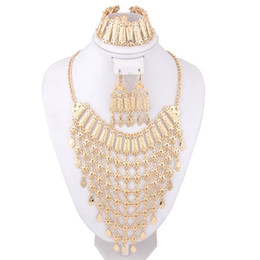 Wholesale African Costume Jewelry Sets - Luxury Charms Dubai 18K Gold Plated Fashion Wedding Bridal Statement Necklace Earring Bracelets Set African Costume Jewelry Sets