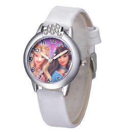Wholesale Kid Leather Doll - 2017 Presale New Women Quartz Watch Barbie doll Watches Fashion Girl Kids Student Cute Leather Wrist WatchesH oliday gift