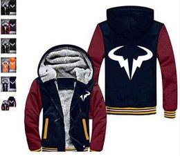 Wholesale Bulls Coat - Wholesale Winter Hoodie Mens Rafael Nadal Natto Thicken Fleece Coat Bull Logo Printed Zipper Jacket sweatshirt US EU Size