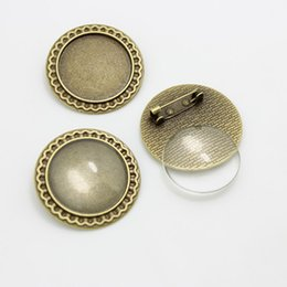 Wholesale Bronze Cabochon Ring Settings - Sweet Bell 5 set Antique Bronze Metal Alloy Brooch 34mm (Fit 25mm Dia) Round Cabochon Settings +Clear Glass Cabochons D0658