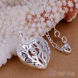 Wholesale Antique Solid Silver - Wholesale-Bluelans Womens Solid Pure Silver Plated Big Antique Heart Pendant Silver Chain Necklace