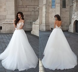 Wholesale 3d Designers Cheap - 2017 New Designer Backless Wedding Dresses Sheer Crew Neck Long Illusion Sleeves Lace Appliques Cheap Long A-line Novia Bridal Gowns