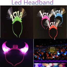 Wholesale Toy Christmas Horns - 2018 Horns LED Headband Plastic Light Up Head Hoop Glowing hairband Christmas Halloween Parties Decoration 2 models Mixed Colors DHL free