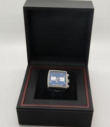 Wholesale Watch Wrist Band Box - Luxury Top Quality CAW2111 Calibre 12 Steve McQueen Walter White Blue Dial Quartz Sports Watches Leather Band Men's Wrist Watch original Box