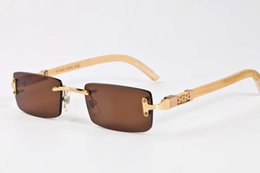 Wholesale Real Blue Butterfly - 2017 luxury brand retro Sunglasses for women mirror buffalo horn wooden rimless sun glasses and real wood foot glasses with case