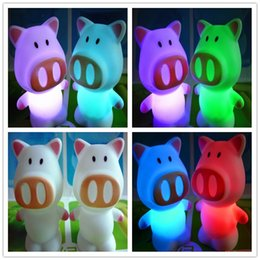 Wholesale Colorful Led Rose Light - battery operated christmas lights child night lights led Penguin Pig Bear Rose plastic body colorful led night lights party room