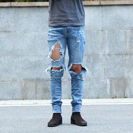 Wholesale Urban Hip Hop Jeans - Fashion kpop skinny ripped korean hip hop fashion pants cool mens urban clothing jumpsuit men's jeans
