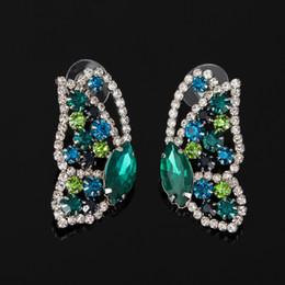 Diseñador de la mariposa online-2017 Mejor Moda astilla Mujeres Preciosas Pendientes de Cristal Pendientes de Cristal Famoso Diseñador de La Joyería para Las Mujeres Envío Gratis # E051
