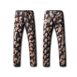 Wholesale Cheap Designer Pants Men - Cheap Mens Robins Jeans High Quality Embroided Rhinestone Pocket Elastic Jeans Straight Denim Cowboy Luxury Designer Mens Pants Brown