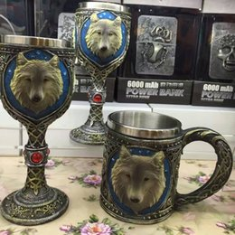 Wholesale Wolf Cup - Skull Cup Goblet Practical 3D Wolf Mug Cool Stainless Steel Wine Glasses Party Drinking Beer Stein Creative Cups 32xc c