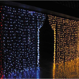 Wholesale Colored Christmas Trees - Curtain lights christmas lights 10*8m 10*5m 10*3m 8*4m 6*3m 3*3m led lights Christmas ornament string Flash Colored Fairy wedding Decor