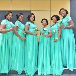 Wholesale Mint Color Long Sleeve Dresses - Plus Size Mint Green Long Bridesmaid Dresses South Africa Dubai Sheer Crew Neck Short Sleeves Cheap Lace Maid of the Honor Dresses
