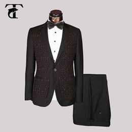 Wholesale Wholesale Fitted Suits - suit men fashionable blazer Blue Black red Slim Fit Wedding men Suit 2017 design Elegant Groom Tuxedo welt pocket Masculine jacket