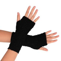 Wholesale Winter Warm Knit Gloves Mens - Wholesale- Winter Warm Women Mens Glove Knitted Arm Fingerless Winter Gloves Unisex Soft Warm Mitten mitaine femme Male eldiven kadin