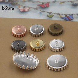 Wholesale 15mm Cabochon Setting Wholesale - BoYuTe 30Pcs Round 12MM 15MM 20MM 25MM Cabochon Base Setting Blank Button Tray Metal Copper Diy Jewerly Accessories Parts