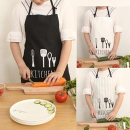 Wholesale Black Chefs Apron - Fashion Knife Fork Design Women Men Kitchen Apron, Home House Chef Restaurant Cooking Baking Dress (Black White Stripe)
