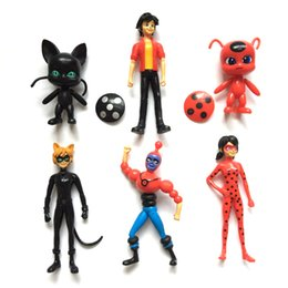 Wholesale Cute Birthday Gifts For Girls - 6pcs lot Miraculous Ladybug Comic Ladybug Girl Doll Box Action Figure Toys Cute Vinyl Anime Toys for Children Birthday Gifts