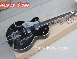 Wholesale Electric Guitar Semi Hollow Left - wholesale Free Shipping-Semi-hollow Electric Guitar,Left-hand Version,Black Body,White Binding,Maple Body,can be Customized