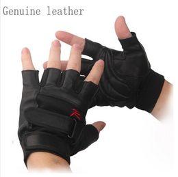 Wholesale Half Hand Gloves Black - Tactical Gloves 2016 New Arrival Half Finger Leather Gloves Fashion Genuine Leather Gloves Size Adjustable Black Hand Glove