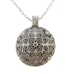 Wholesale Chains For Costume Jewellery - Wholesale-Bohemian Flower Pendant costume Long Tibetan Silver vintage Necklace Jewelry Jewellery bijouterie chain for Women Girl's