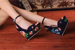 Wholesale Platform Flower Sandals - Blue Denim Sandals Folk Flower Embroideried Fabric Wedge Gladiator Sandals Women Platform Sandals Wedding Shoes Woman Sandalias
