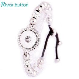 Wholesale Snap Buttons For Leather - Wholesale- Rivca Snap Button Jewelry Adjustable Snap Button Bracelet 18mm Metal Snap Button Charms Black Leather Bracelets For Women P01243