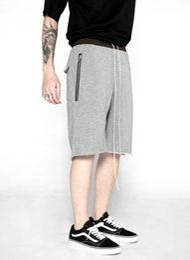 Wholesale Korean Fashion Clothes For Men - male fashion drawing korean urban hip hop clothing for big men kanye west zipper jogger harem pants fog cool sweatpants shorts